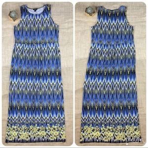 J Jill Dress Small Maxi Wearever Blue Chevron